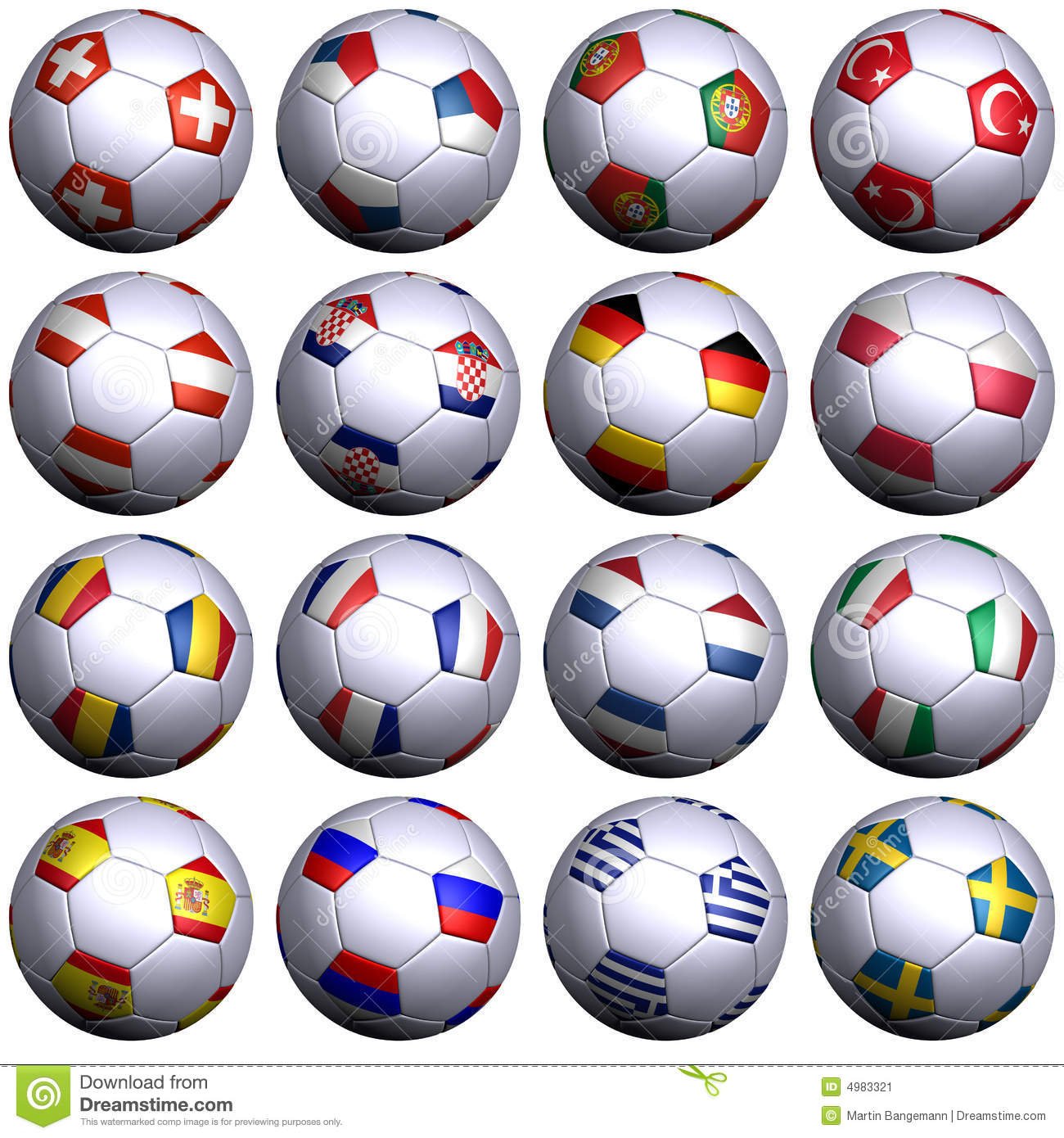 16 Soccer-balls With Flags Of All UEFA 2008 Teams Stock ...