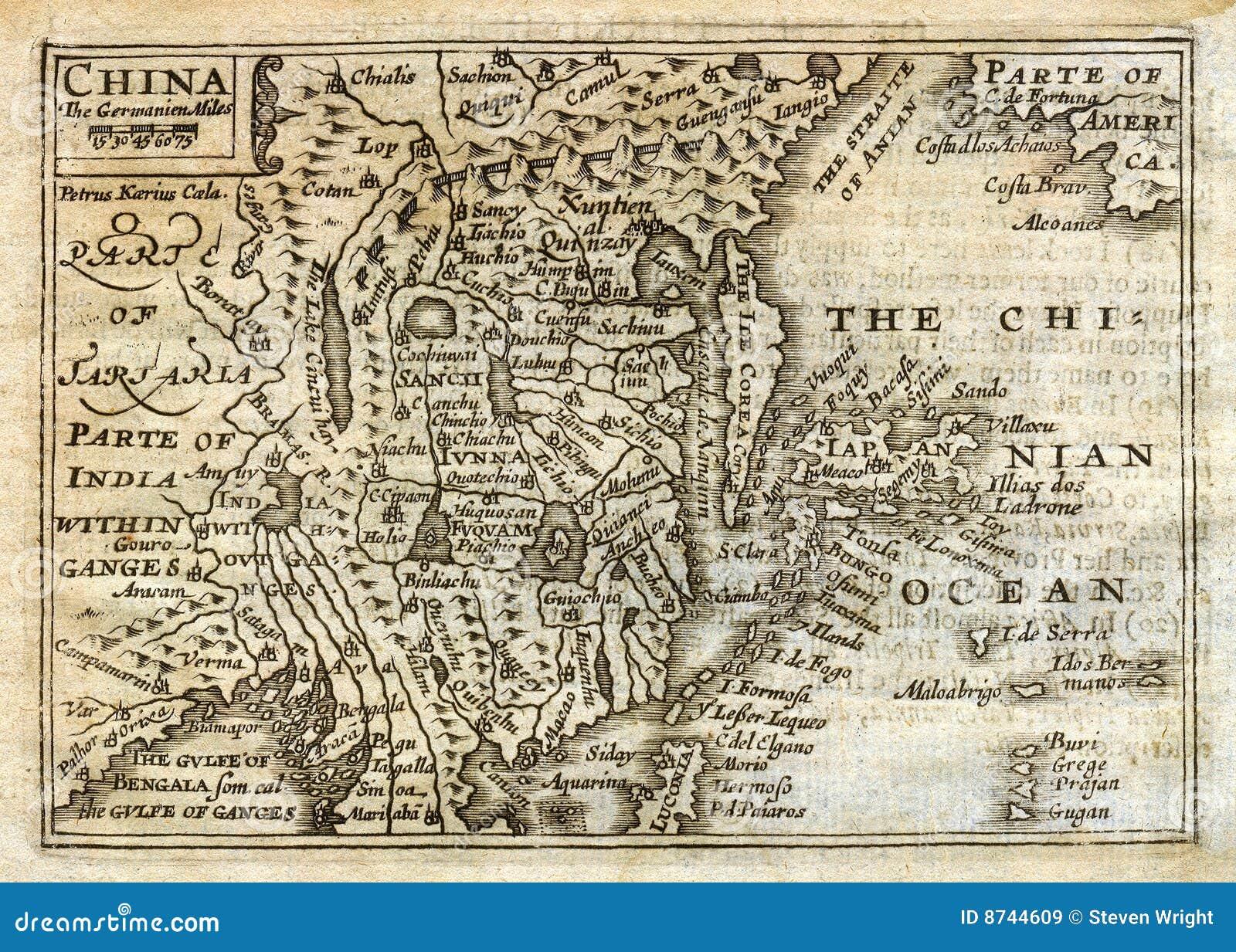Ancient Map Of Japan.1635 Antique Speed Map China Japan Korea Stock Illustration