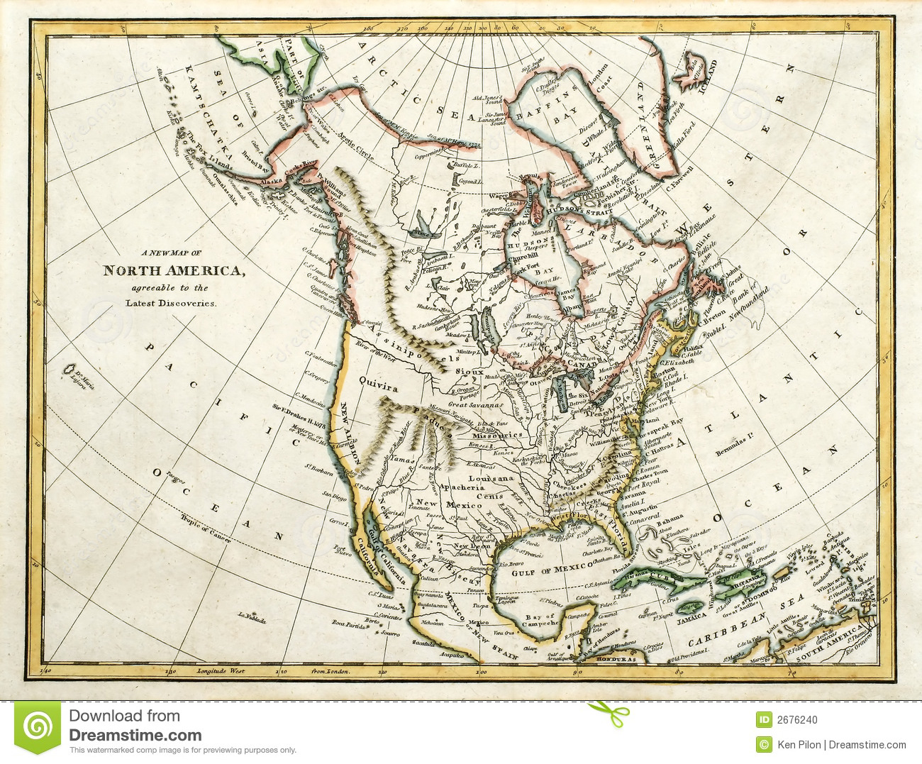 Map Of North America Stock Photo Image - Download map of north america