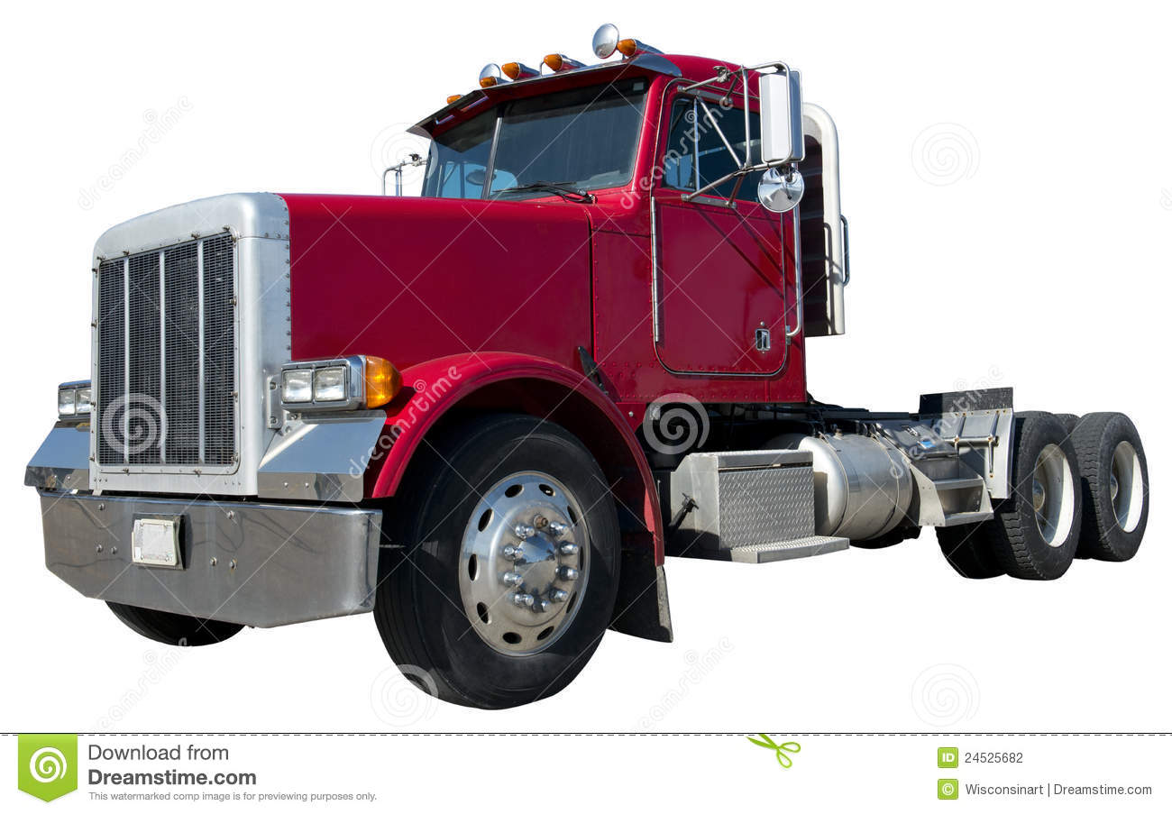 Eighteen wheeler tractor trailer semi truck. The 18 wheeler cab is ...