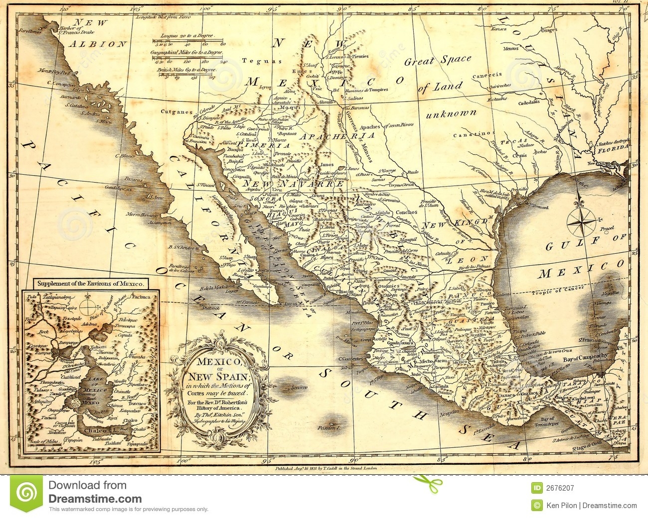 1821 Map of Mexico