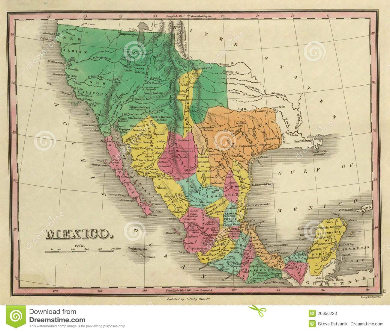 Map Of Texas Mexico.1831 Antique Map Of Texas Stock Illustration Illustration Of