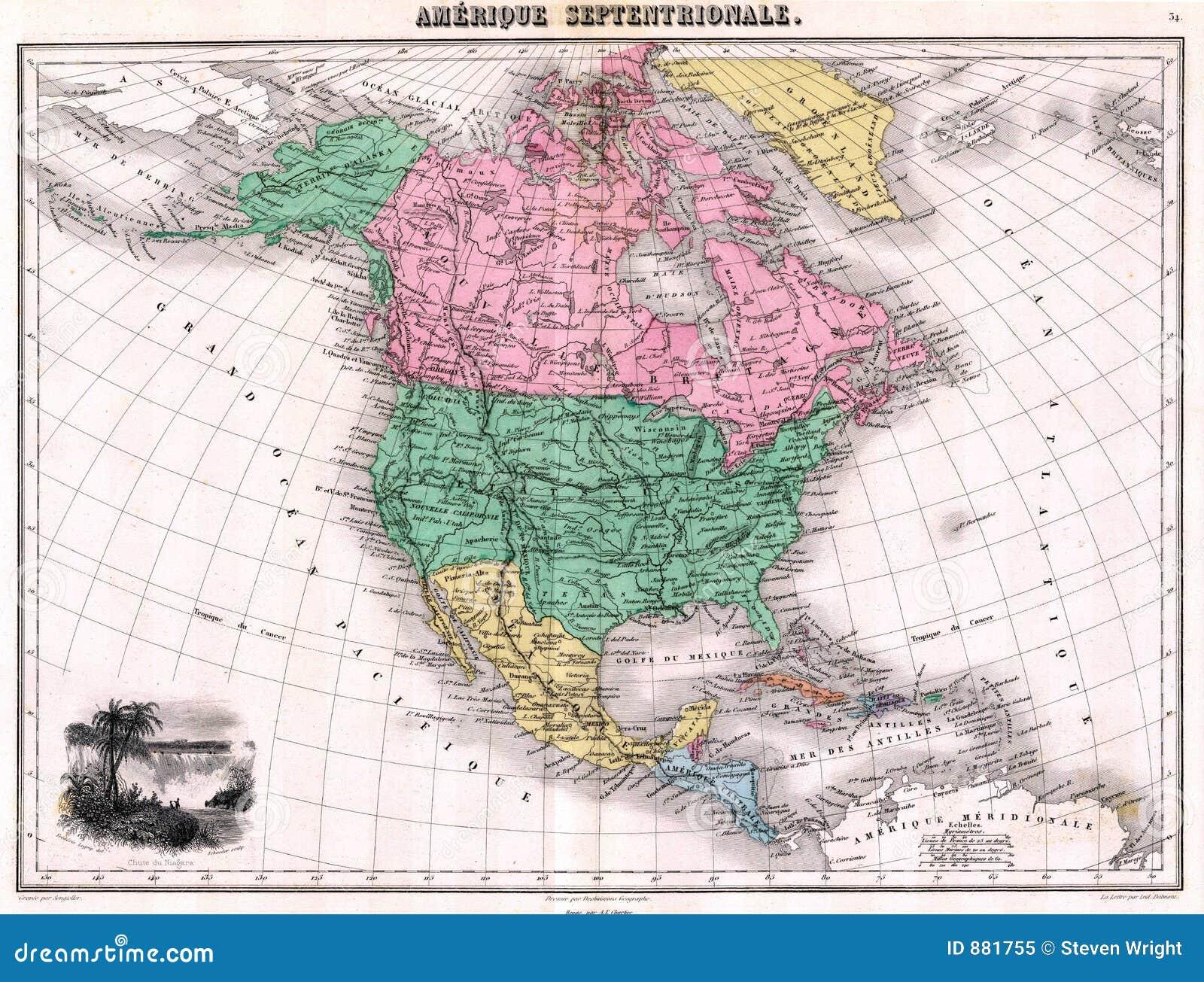 1870 mapy na północ antykwarska Ameryki