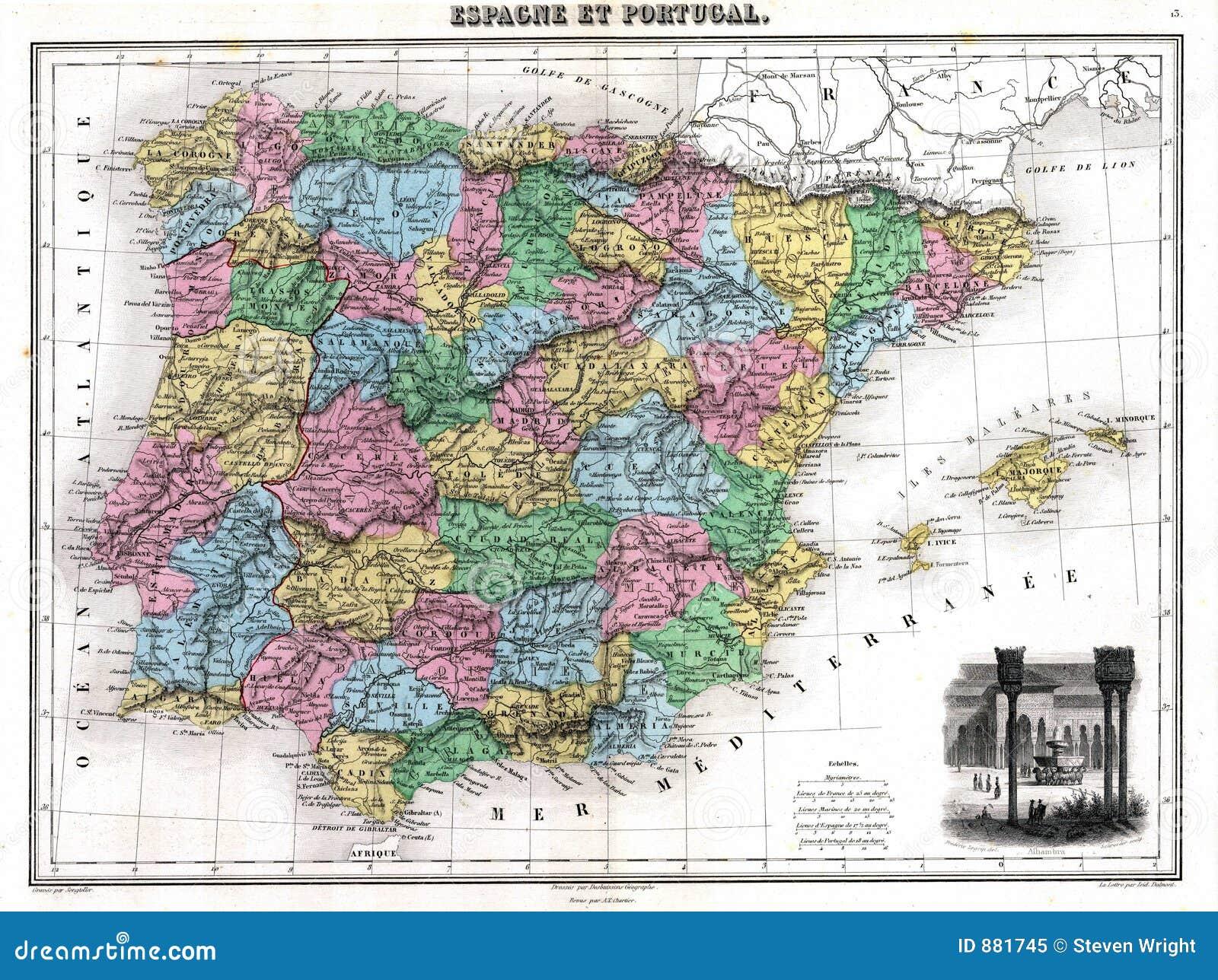 1870 mapy o Portugal Hiszpanii