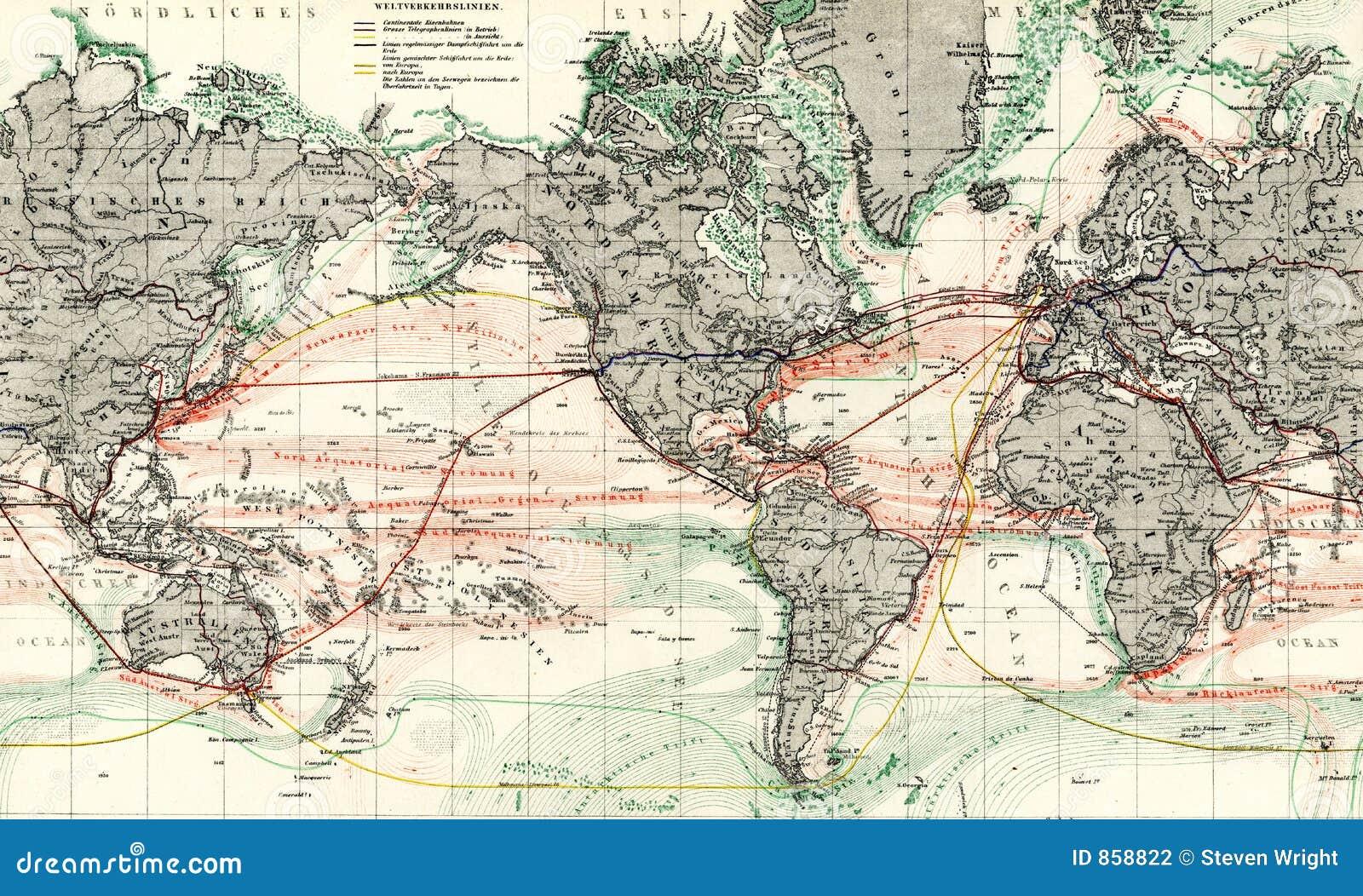 Antique Map Of World.1875 Antique Map Of World Ocean Currents Stock Illustration
