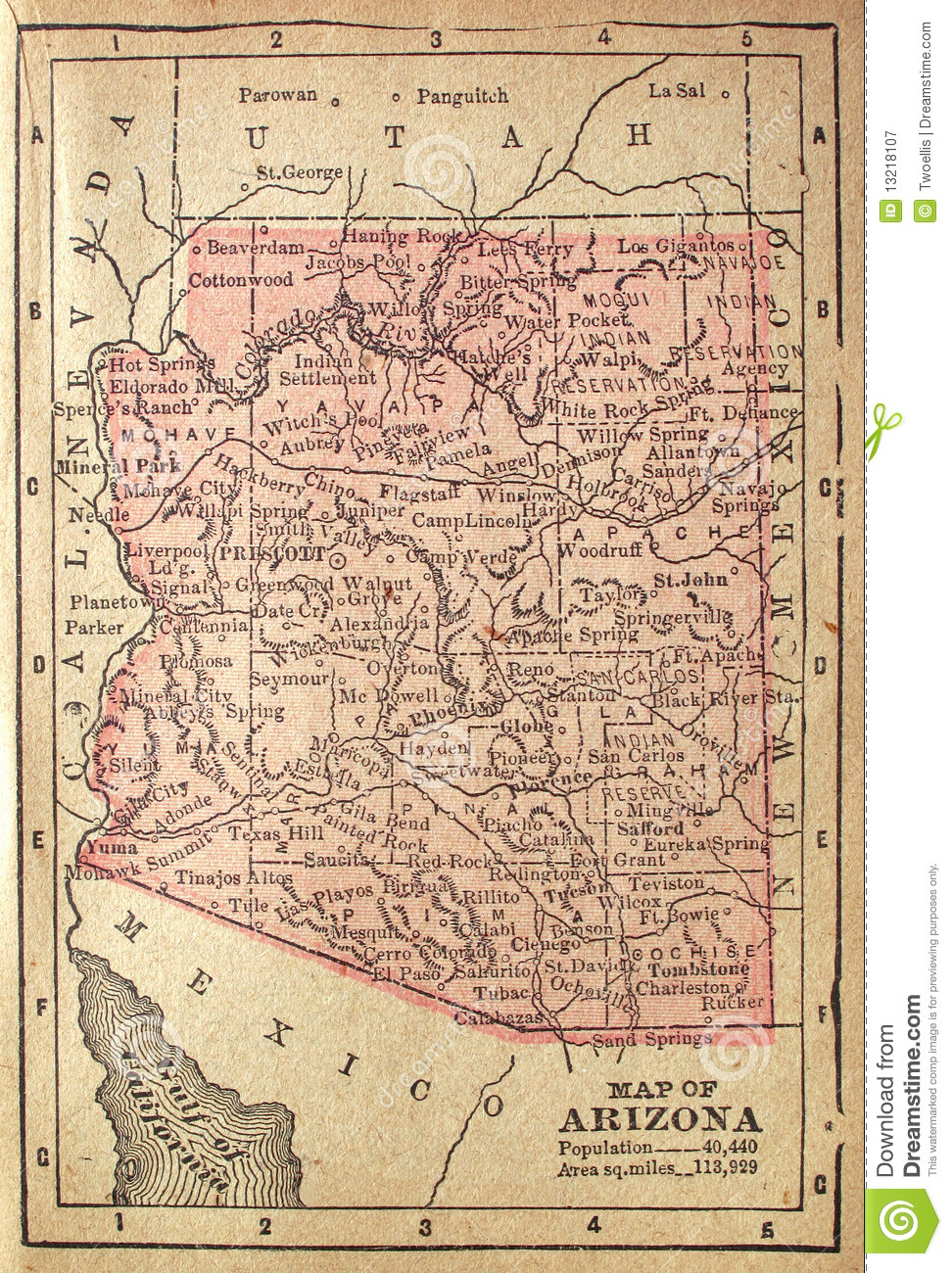 Map Of Old Arizona.1880 Map Of Arizona Stock Image Image Of Oceans Discovery 13218107