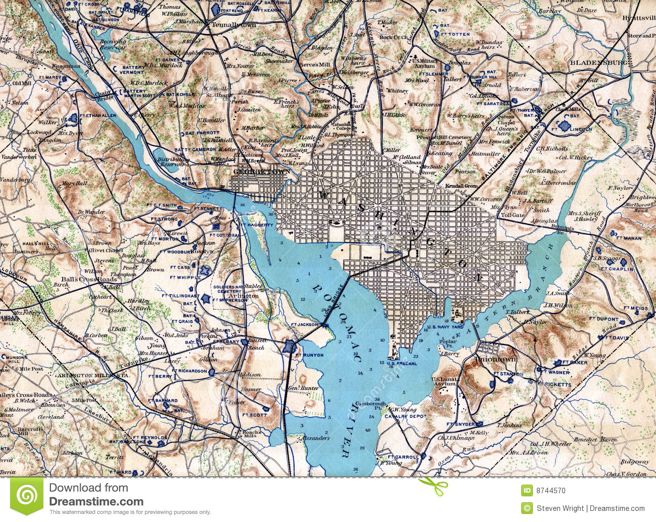 Map Washington DC Stock Photo Image - Washington dc map download