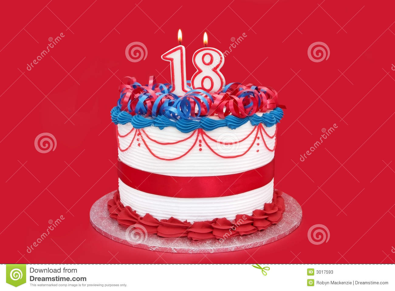 18th Cake Stock Image Of Decorated Eighteen Iced