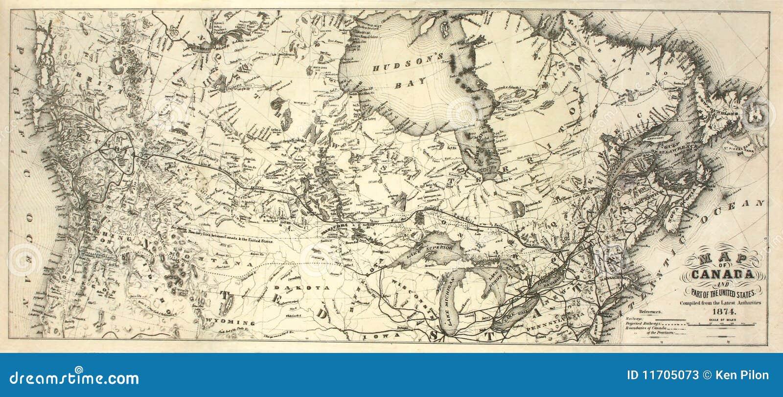 Carte Historique Canada.19eme Carte De Siecle Du Canada Image Stock Image Du