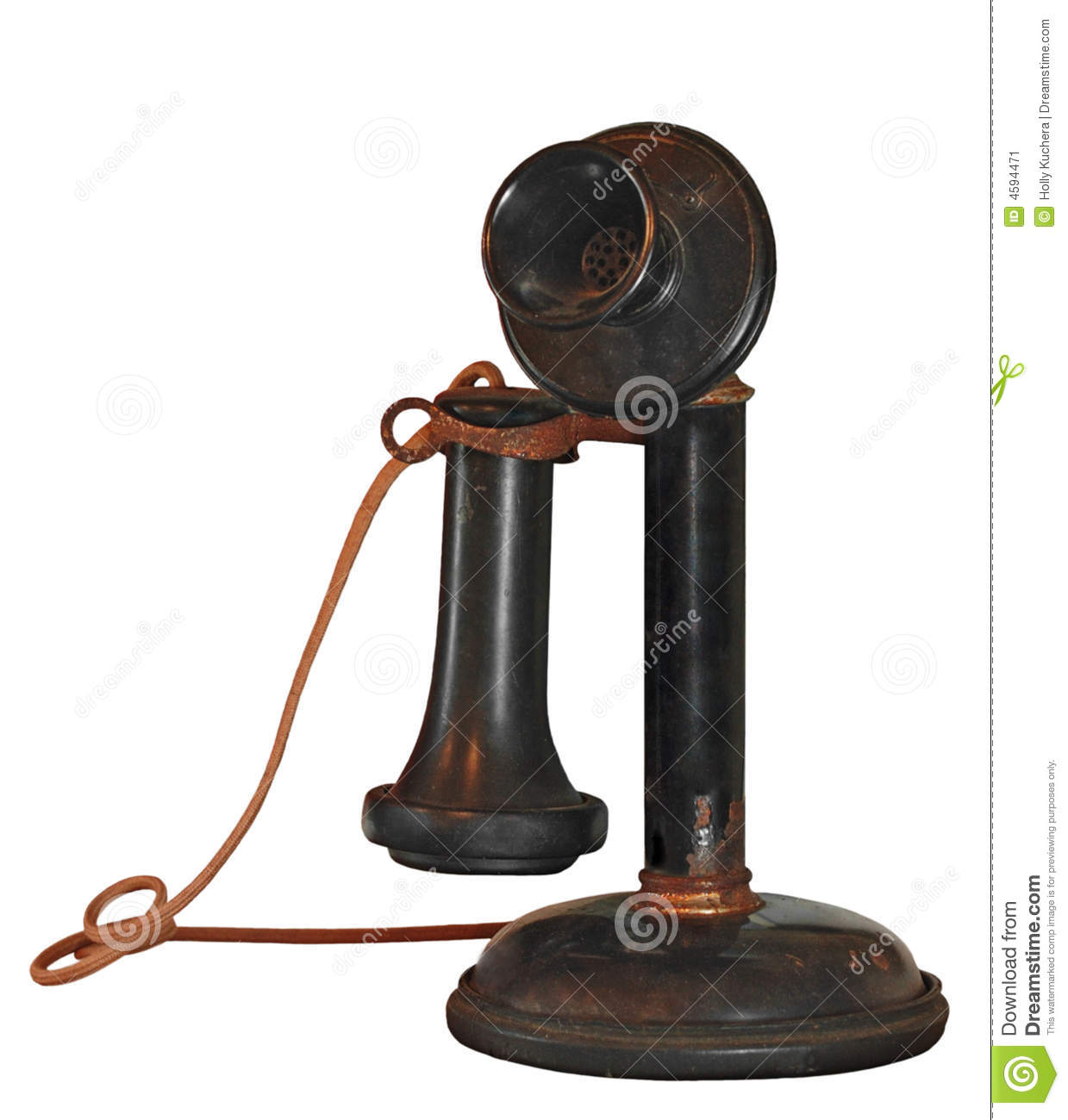 1900's Candlestick Telephone On White Stock Image - Image: 4594471