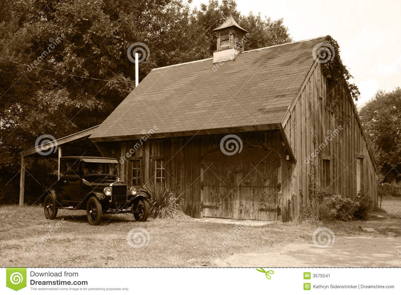 1927 Model T Ford Amp Old Barn Stock Image Image Of