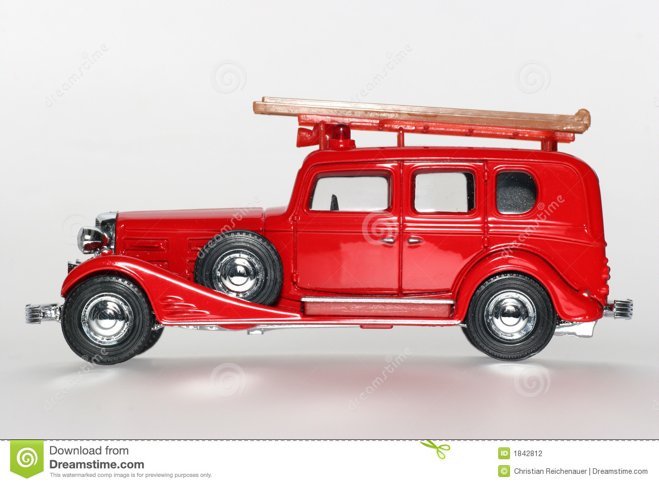 Cadillac Fire Engine Classic Toy Car Sideview Stock