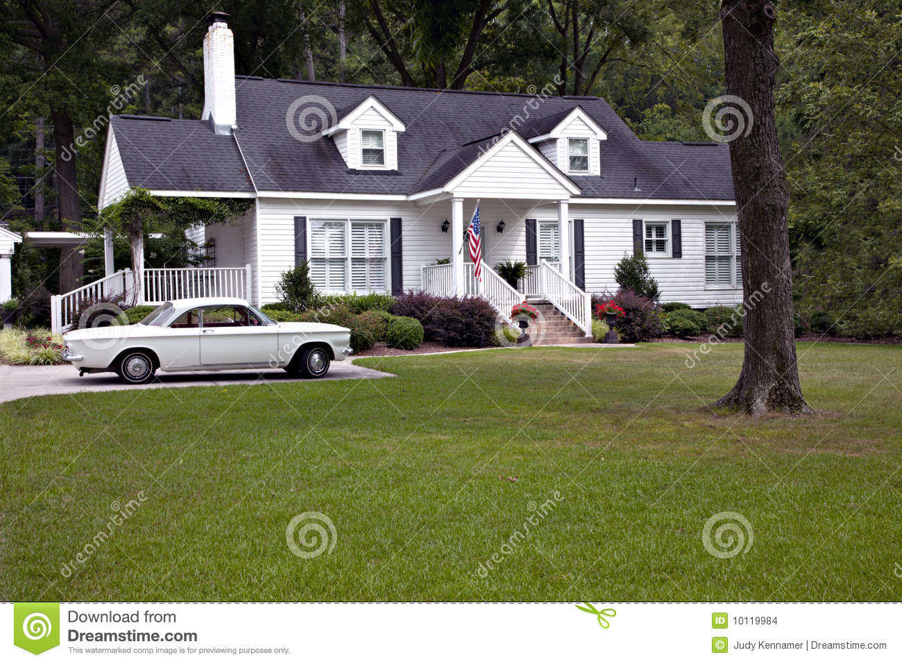 1950S House New 1950's House With Flag And Car Stock Images  Image 10119984 2017