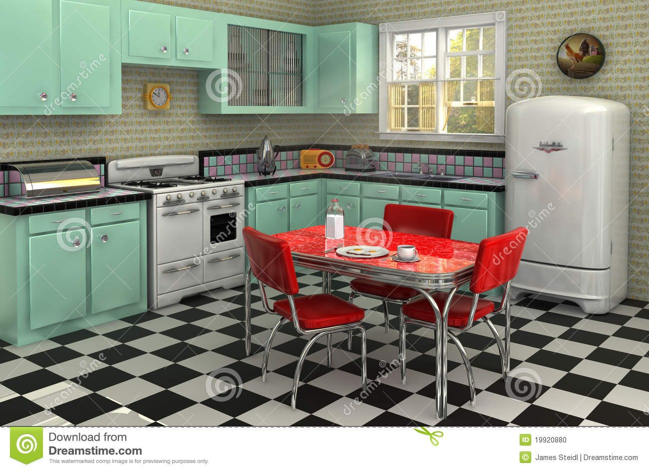Retro kitchen from the 1950s complete with stove, refrigerator, chrome ...