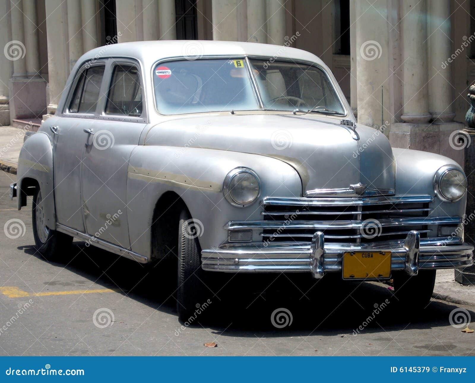 1950 silver car in Havana