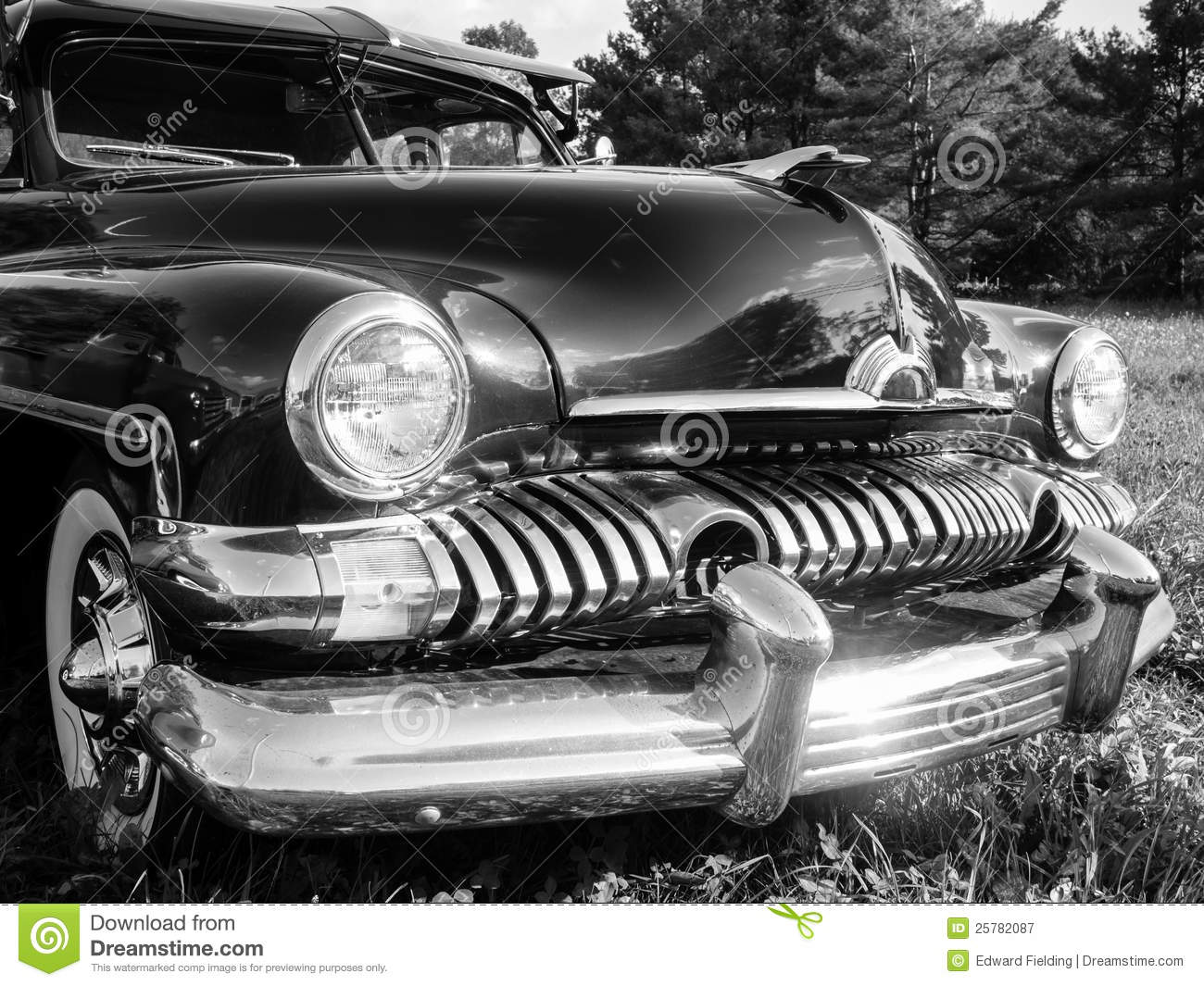 1950s Classic Car In Black And White