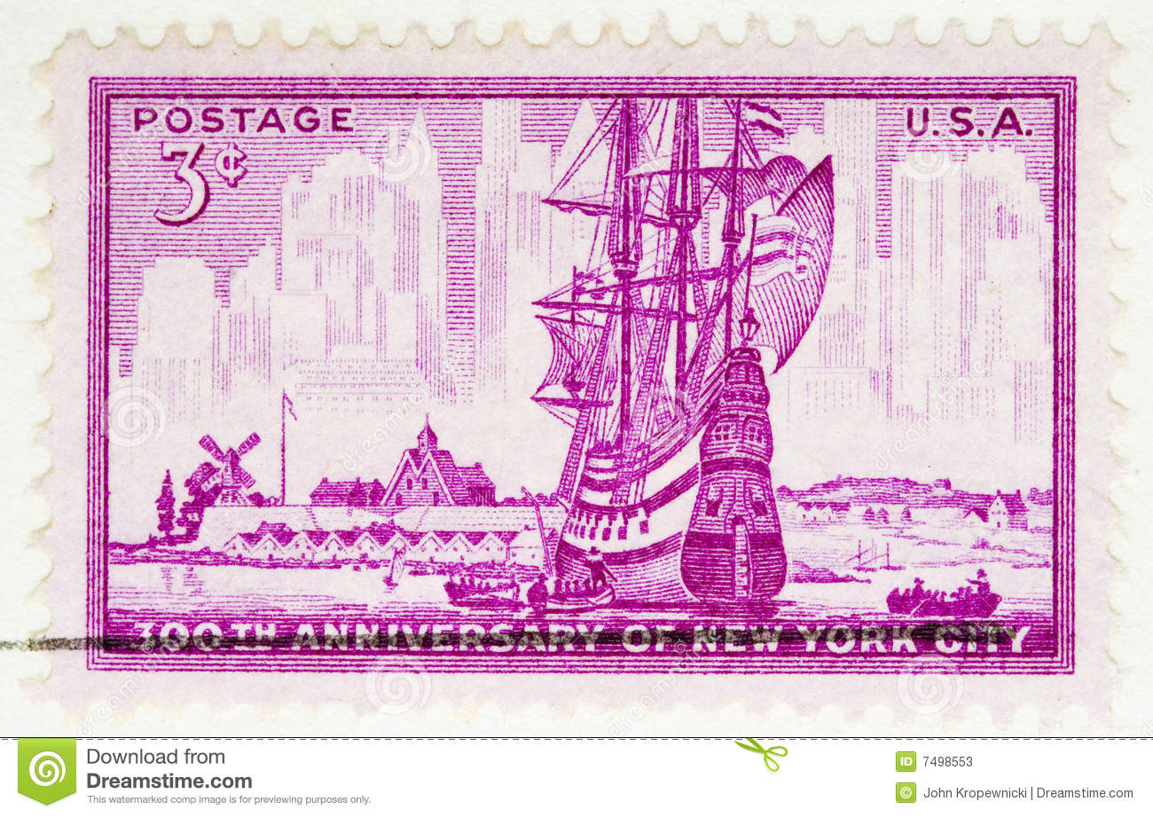 1952 Stamp New York City Stock Image Image Of Vintage
