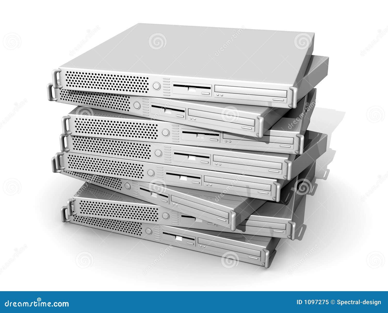 19inch被堆积的服务器