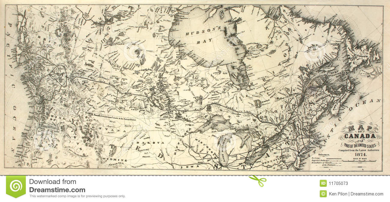 Th Century Map Of Canada Stock Image Image Of Cartography - Old map of canada