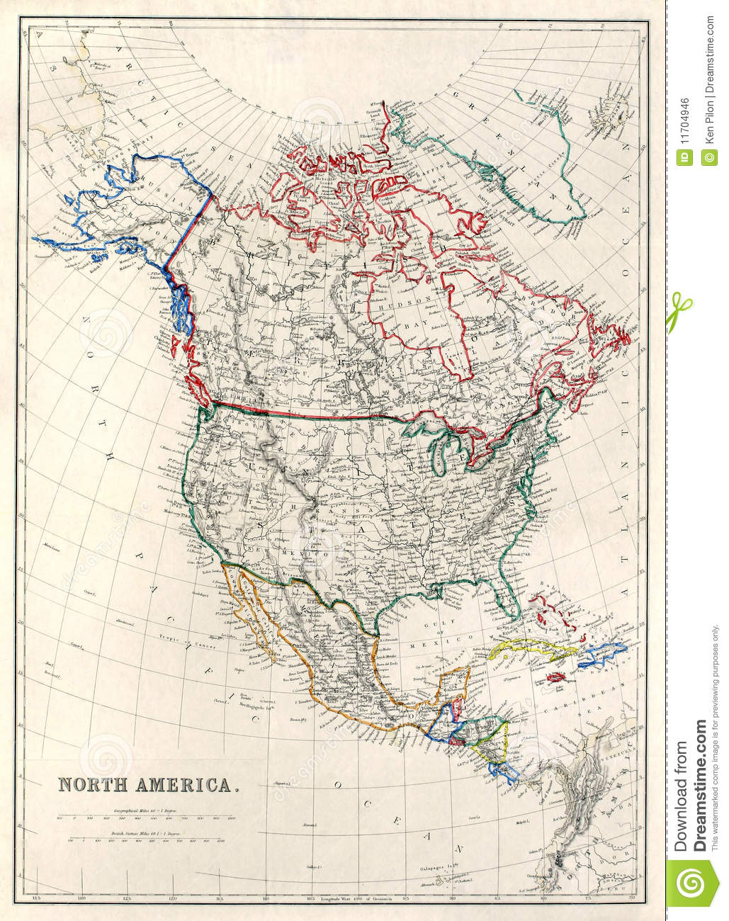 Th Century Map Of North America Royalty Free Stock Image Image - Map of n america