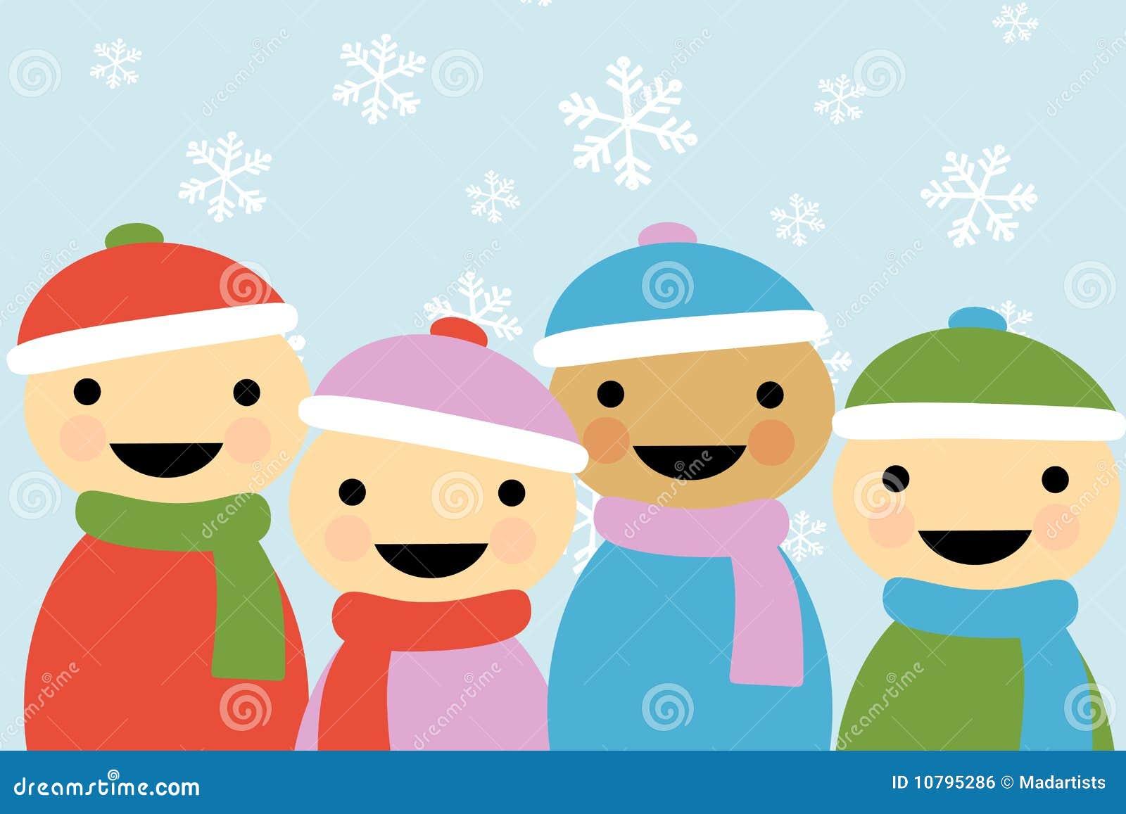 2动画片儿童冬天 免版税库存图片
