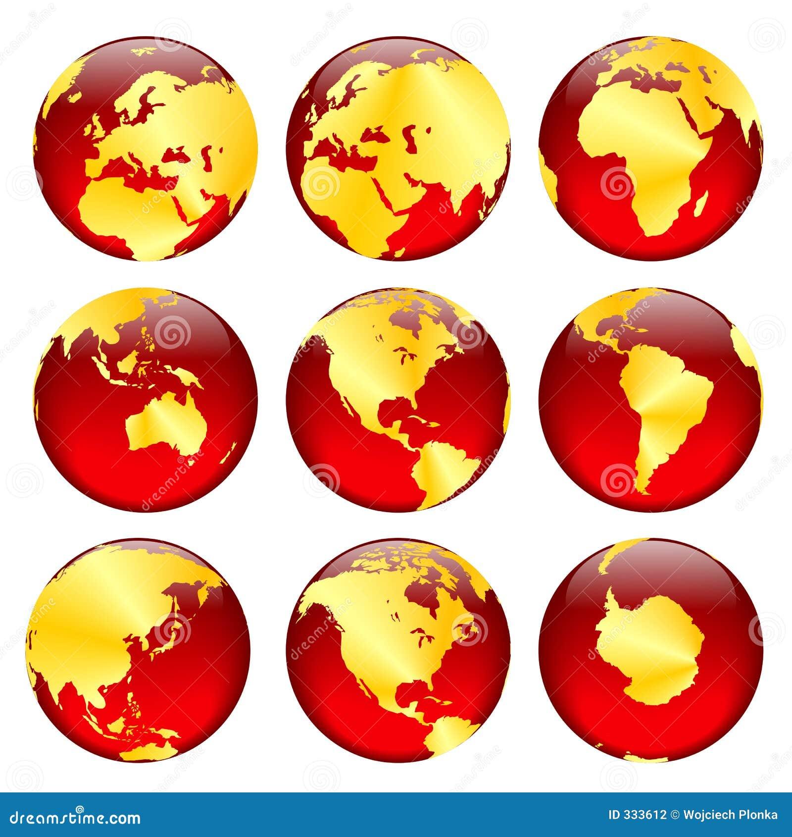 2个地球金黄视图
