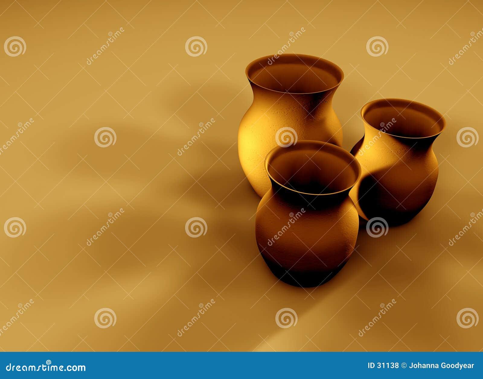 2个黏土水罐