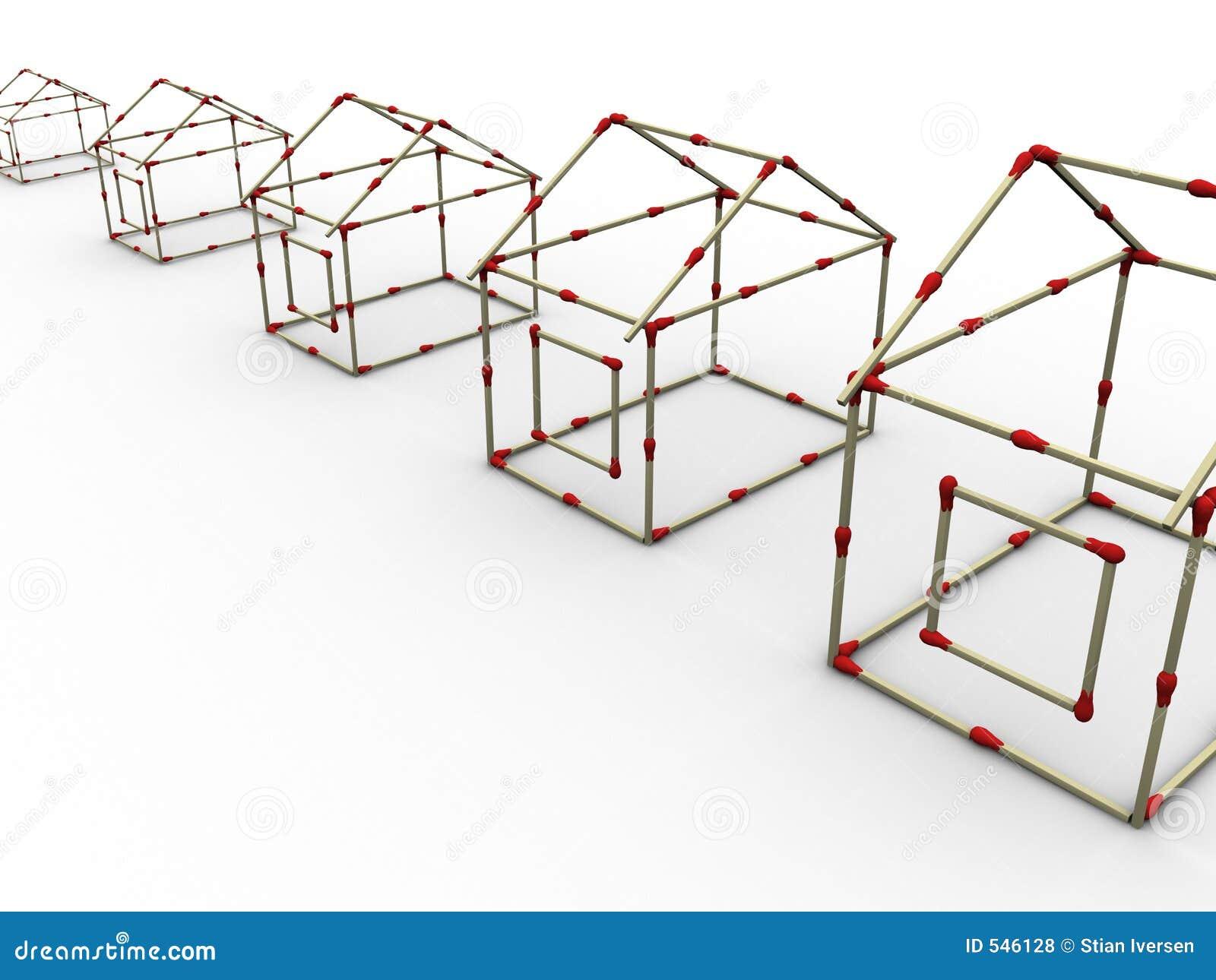 Download 2房子符合行 库存例证. 插画 包括有 布琼布拉, 翻译, 火柴梗, 列阵, 红色, 塑造, 站点, 房子, 警告 - 546128