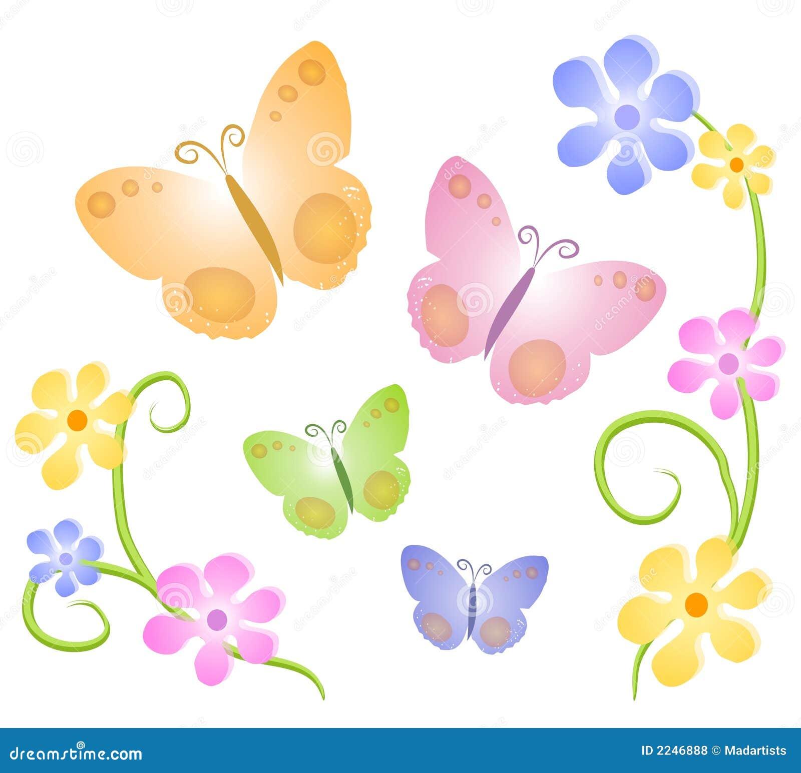 2 бабочки искусства закрепляют цветки