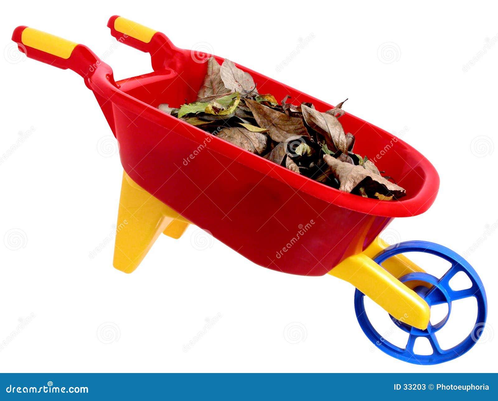 2片干燥叶子塑料戏弄wheelbarrel