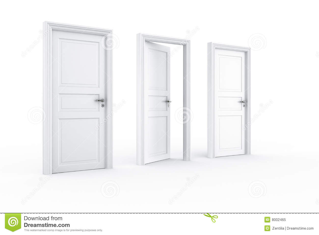 2 closed door 1 open stock illustration. Image of doorway ...