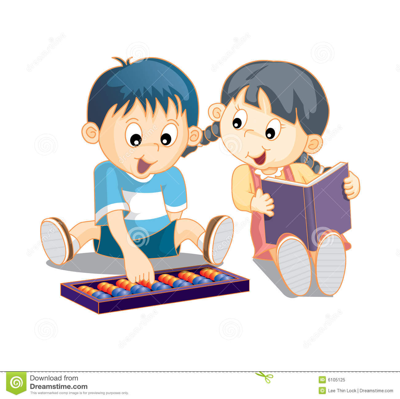 cute smart kids reading books and playing abacus.