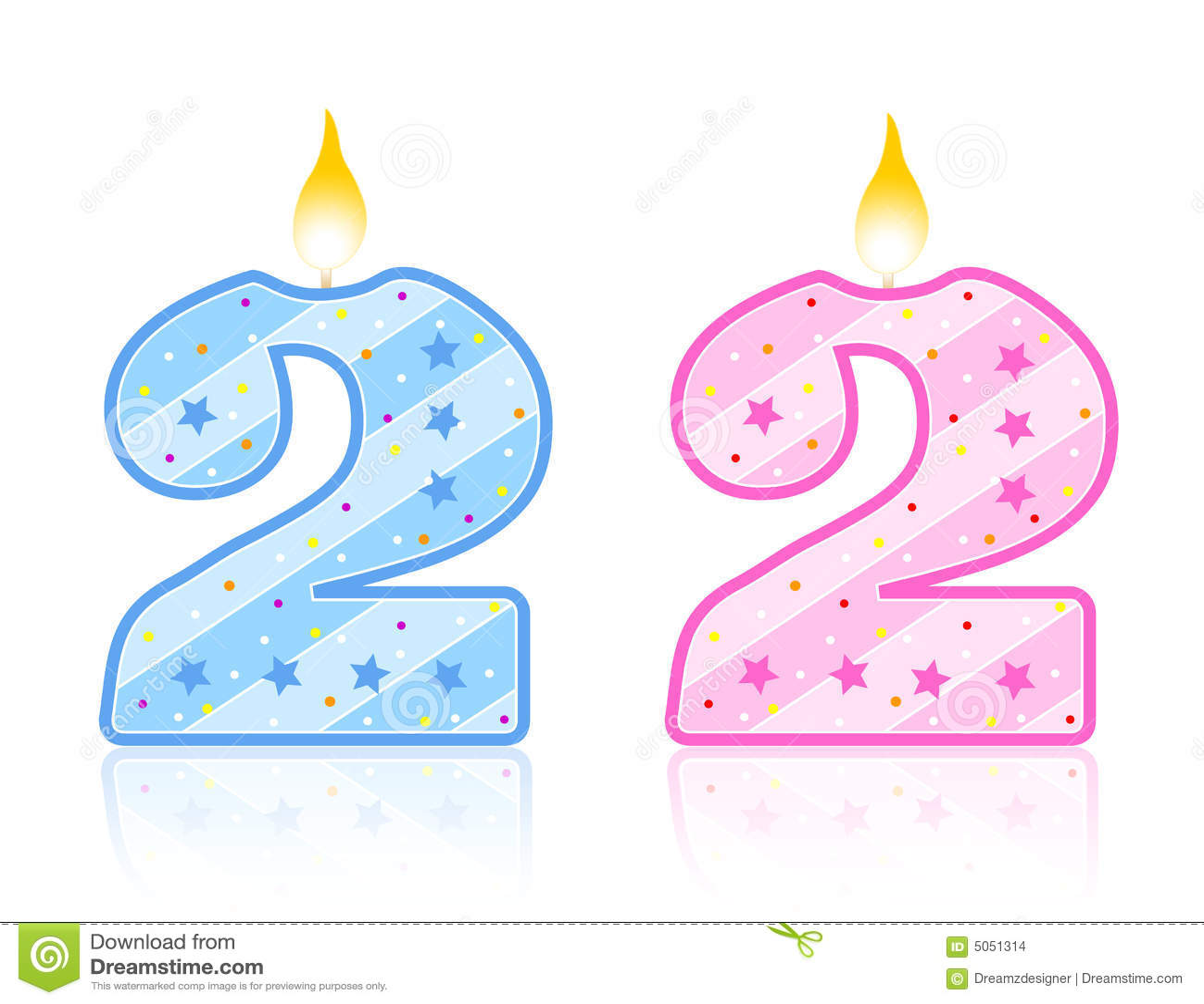 2 födelsedag stearinljus