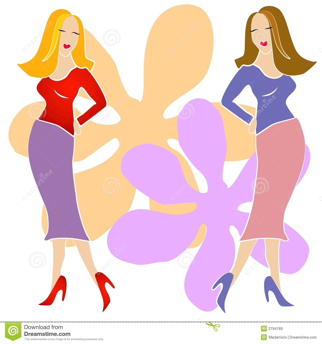 2 Fashion Girls Clip Art