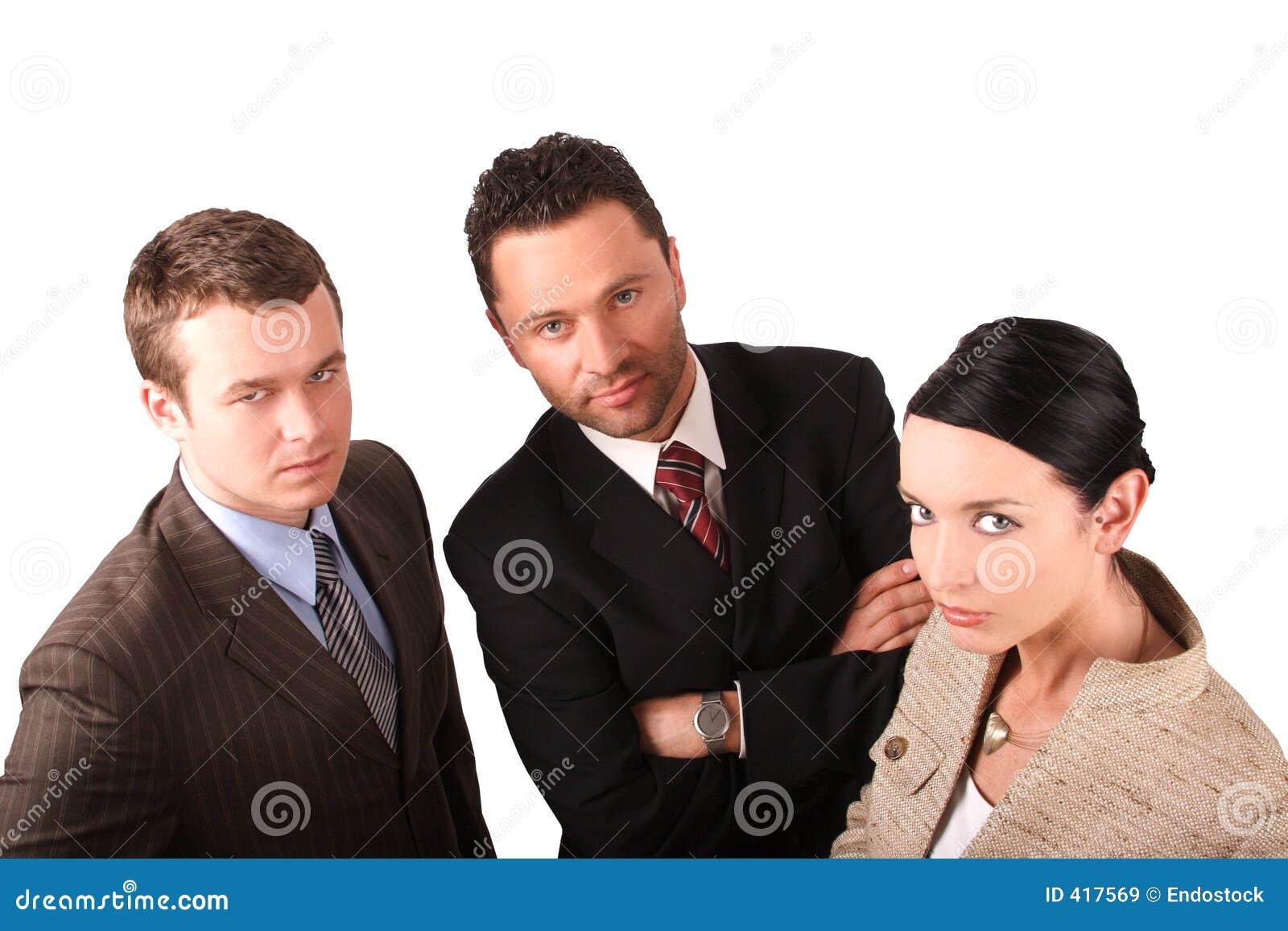 2 homens 1 equipe 2 do negócio da mulher - isolada