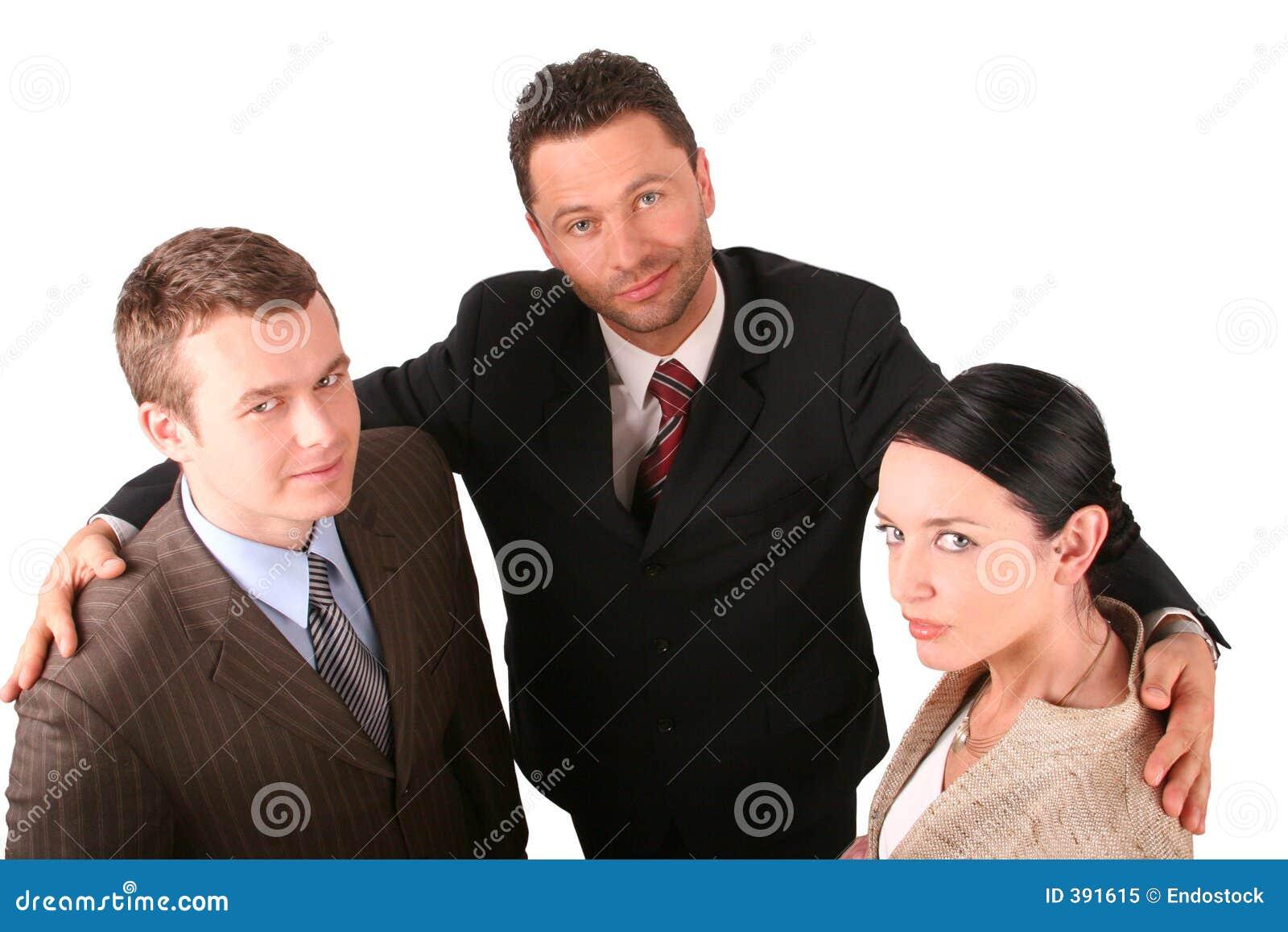 2 hommes 1 équipe d affaires de femme