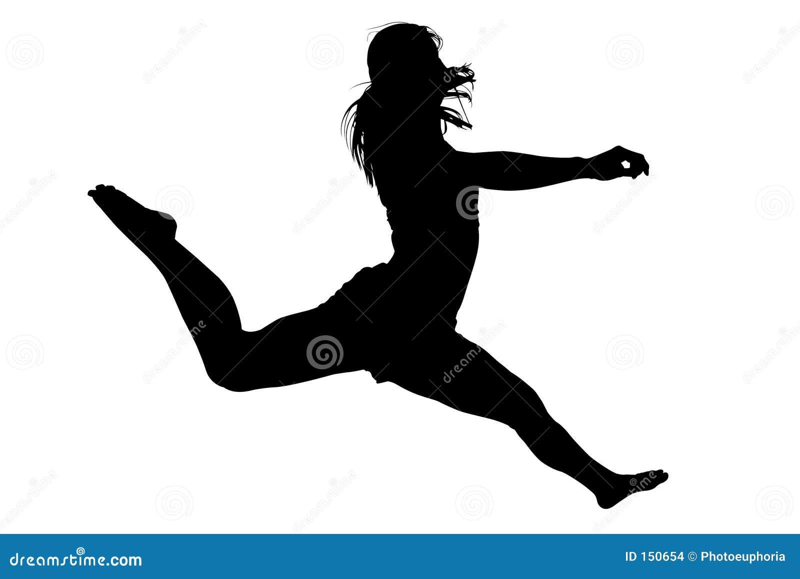 2 hoppa silhouettekvinnabarn