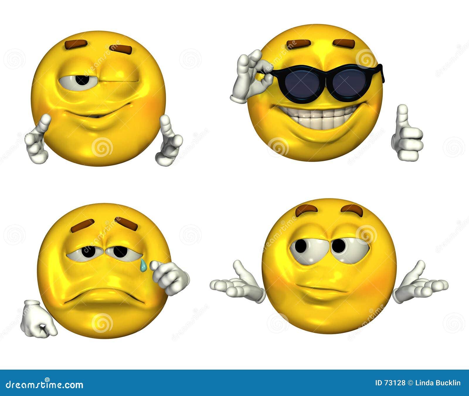 2 inställda stora emoticons 3d