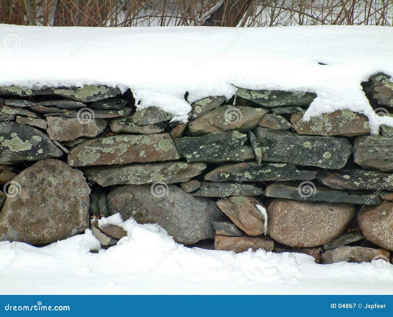 2 kamienna ściana śniegu