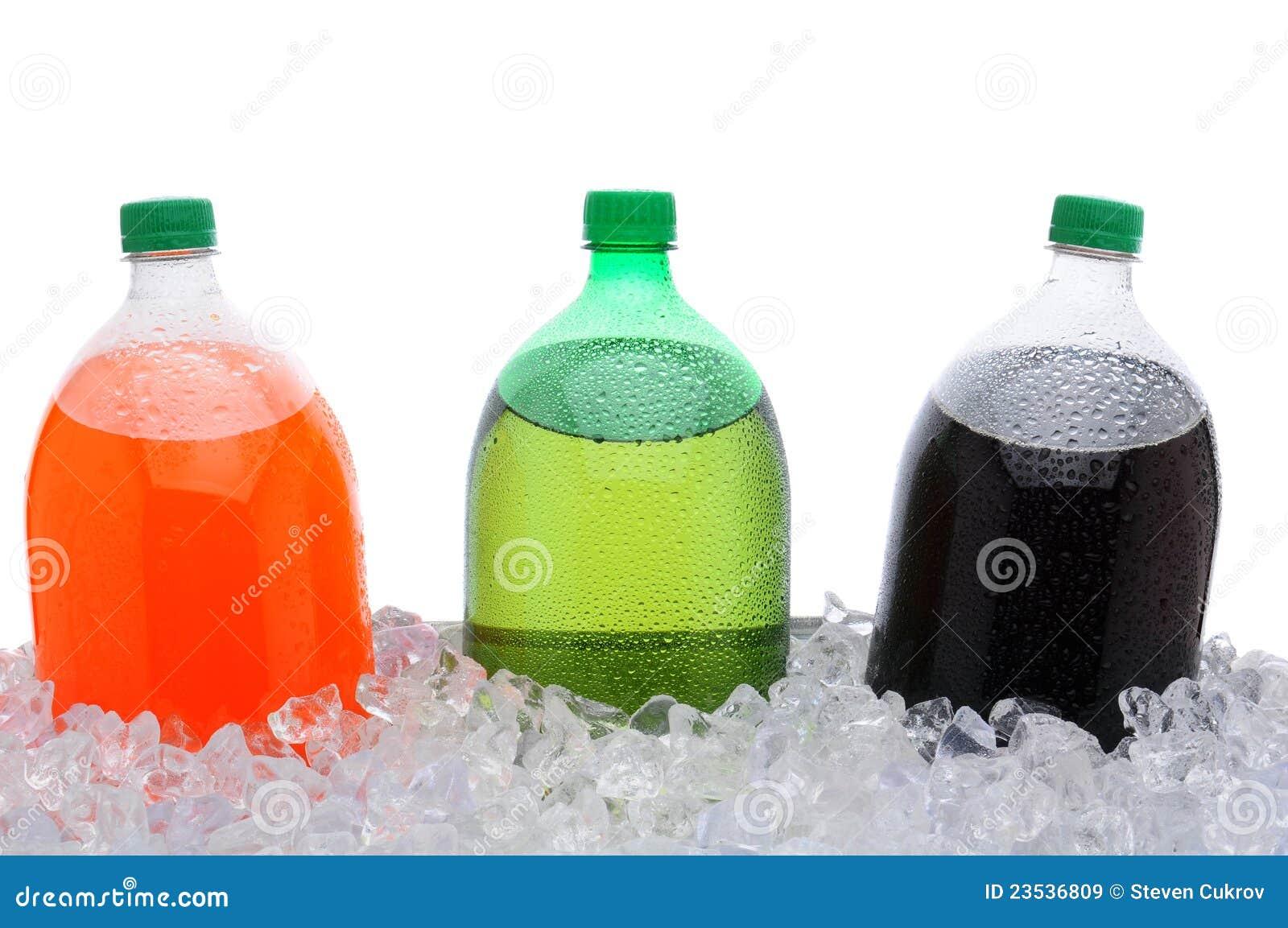 2 Liter Soda Bottles In Ice Stock Image - Image of
