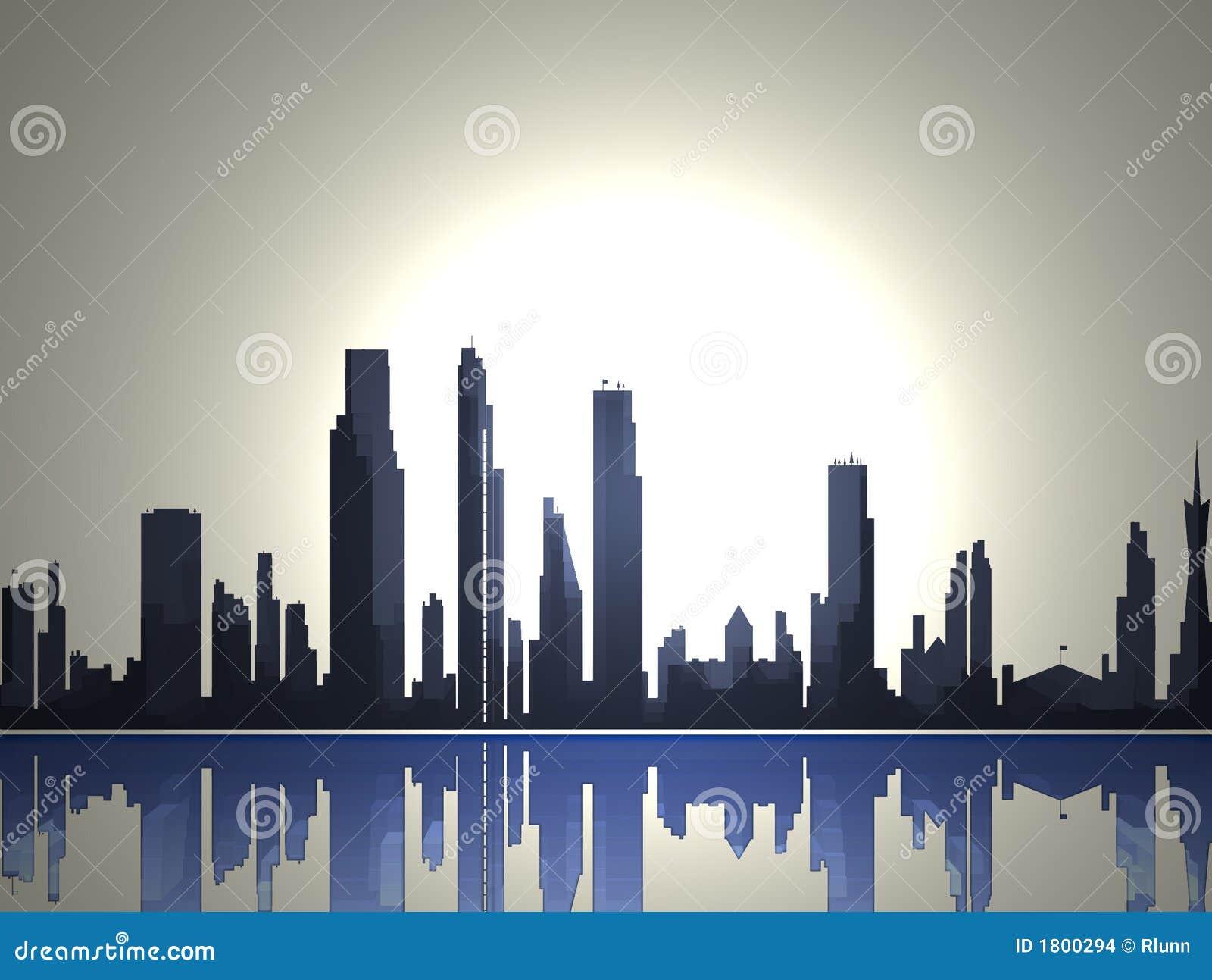 2 miast sylwetki linia horyzontu