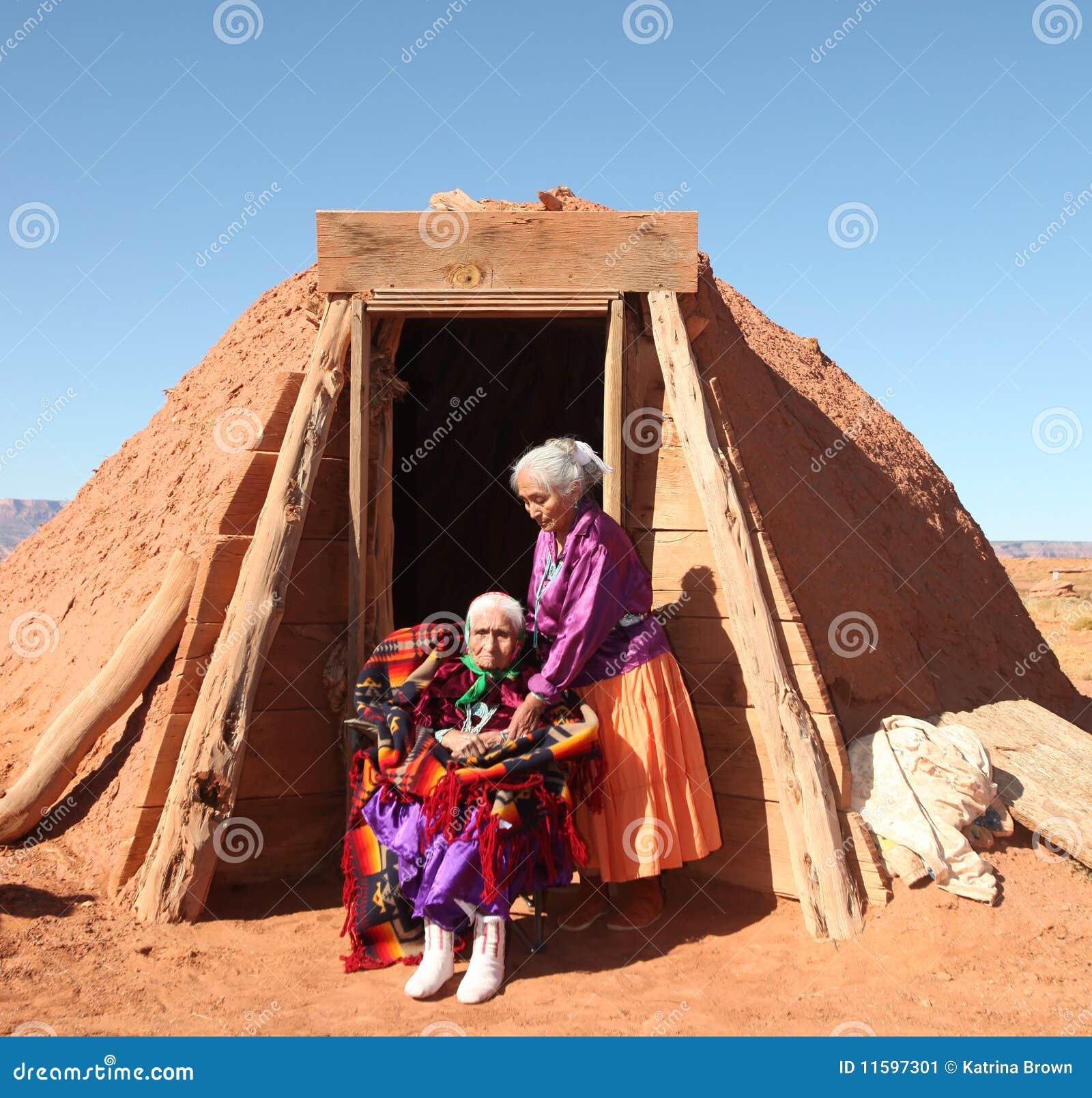 2 Navajo Women Outside Their  Navajo
