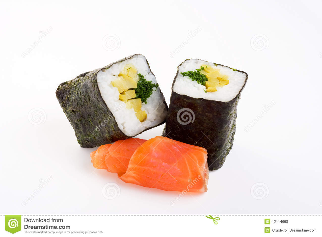 2 rolls of sushi with fish royalty free stock photos for Best fish for sushi