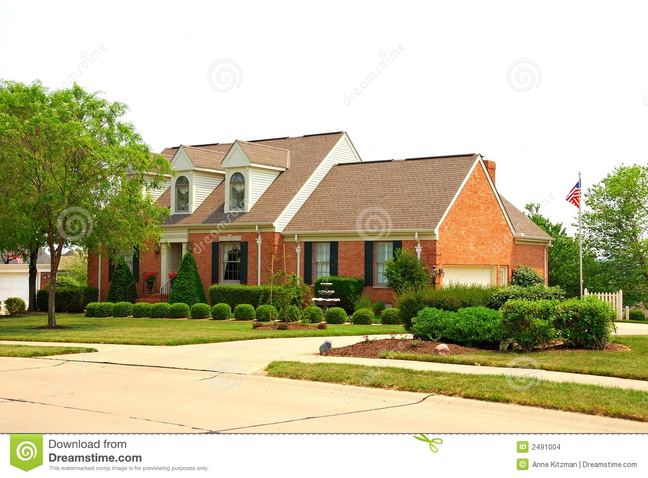 2 Story Brick Suburban Home Stock Images Image 2491004
