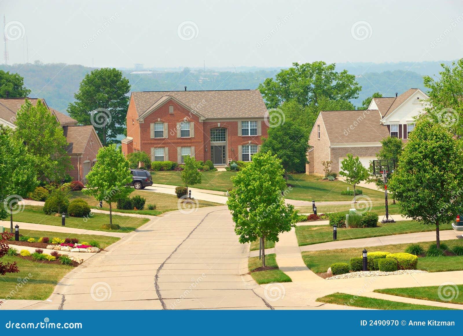 2 Story Brick Suburban Homes Stock Photo Image 2490970