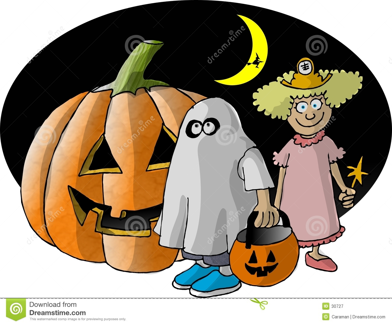 2 Trick or Treaters and a big Pumpkin