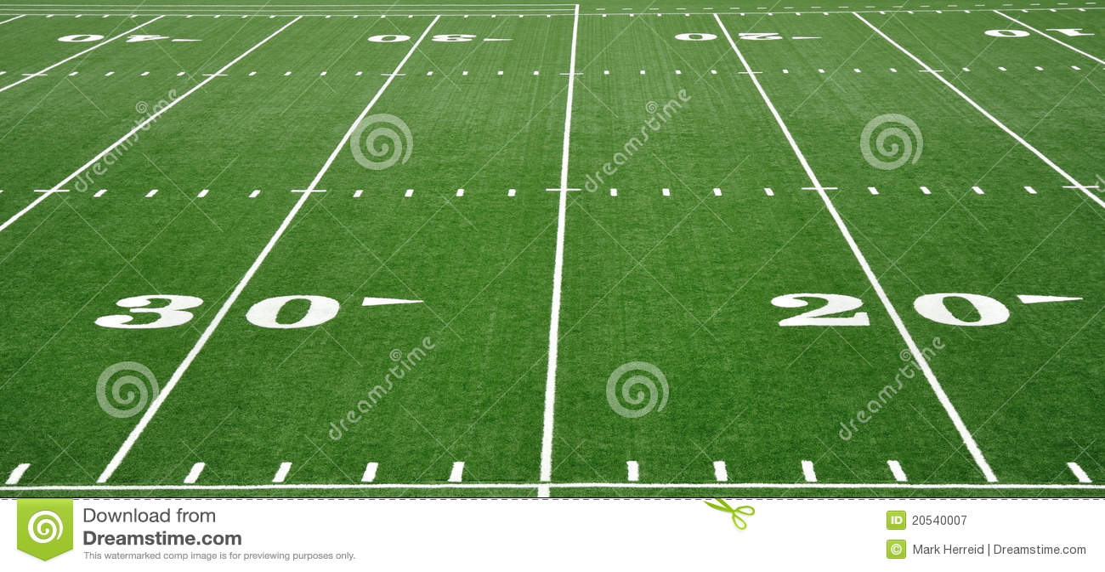 20 & 30 Yard Line on American Football Field