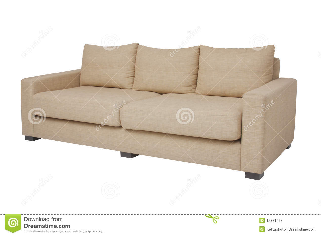 20 degree beige couch on white stock image image 12371457. Black Bedroom Furniture Sets. Home Design Ideas