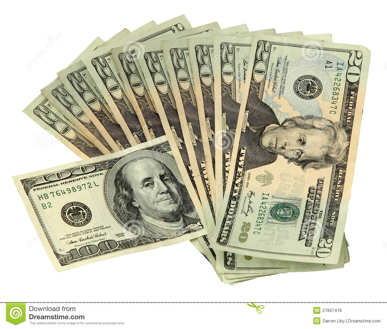 20 Dollar Bills With One 100 Dollar Bill Royalty Free Stock Photos ...
