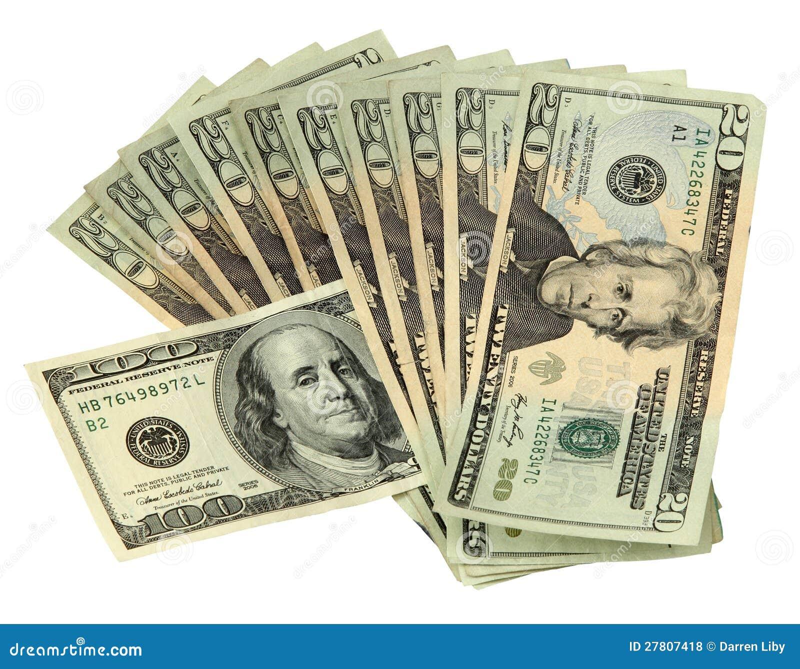 20 Dollar Bills With One 100 Dollar Bill Royalty Free Stock Photos ...